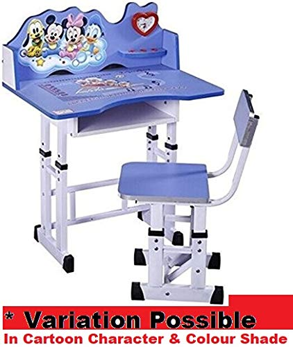 TruGood Wooden Learning Activity Desk Study Table and Chair Set for Kids (Blue)