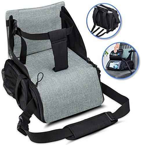 KIDUKU Rialzo da viaggio per sedile, Travel Booster Seat Rialzo sedia | seggiolino portatile che funge da rialzo e sedile da viaggio | ideale come seggiolone per bambini, Verde