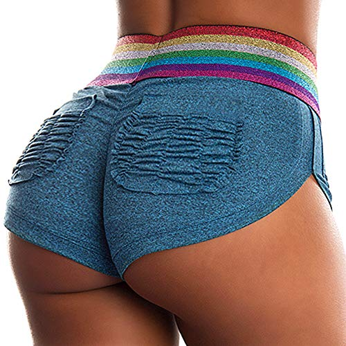 INSTINNCT Damen Kurze Trainingshose Sporthose Kurze Hose Sport Fitness Jogginghose Shorts Stil 5 - blau mit Taschen S