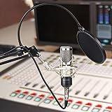 MVPOWER Kondensator Mikrofon Set Professionelle Studio Rundfunk & Aufnahme Kondensator Mikrofon Set mit Ständer, Shock Mount, Montage Klemme Kit