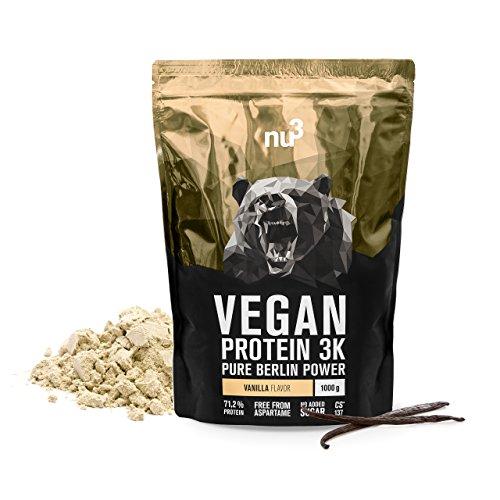 nu3 Vegan Protein 3K Shake | 1 Kg Vanilla Blend | veganes Proteinpulver aus 3-Komponenten-Protein mit 71{5f6f394e51440728b86807dc02b348252ee1bdba2a472189fca6ff2038a5a3ba} Eiweiß | Pulver mit leckererm Vanille-Geschmack | Laktosefrei