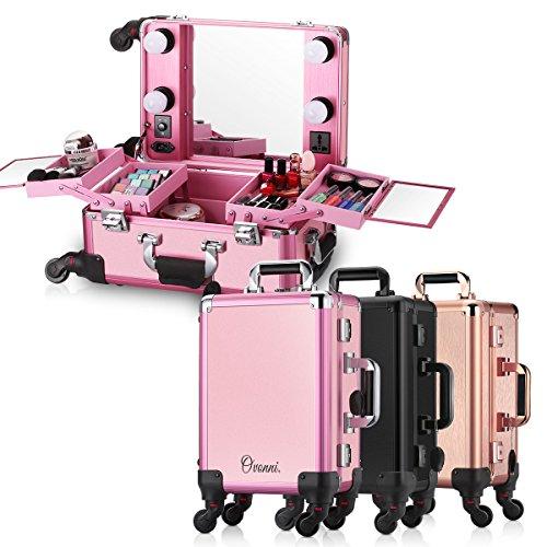 7dc0ca760 Ovonni Maleta De Maquillaje Profesional Rosa Multiuso Maletin Para  Maquillaje Y Joyas Con Ruedas