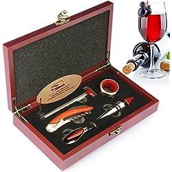 YOBANSA Scatola di legno Accessori per vino Set regalo, cavatappi per vino, tappo per vino, versatore vino, anello per vino, termometro per vino