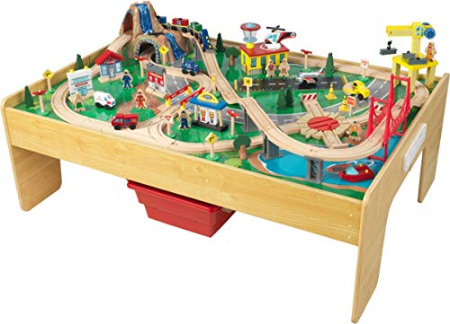 KidKraft 18025 Set Treno e Tavolo Giocattolo in Legno per Bambini Adventure Town con Tecnologia Ez...