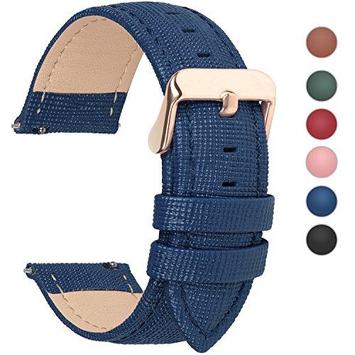 Fullmosa 6 Colori per Cinturini di Ricambio, Cross Pelle Cinturino/Cinturini/Braccialetto/Band/Strap di Ricambio/Sostituzione per Watch/Orologio 18mm 20mm 22mm 24mm, Blu Scuro 18mm