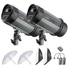 Neewer 600W Kit de Iluminación Flash Estroboscópico - (2)300W Monolight, (2)Softbox, (1)RT-16 Set de Disparador y Receptor Inalámbrico, (2)Paraguas Translúcido para Video y Disparo de Retrato(N-300W)
