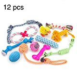 Juguetes para perros Juego de regalo de 12 paquetes, cuerda de bola RoyalCare y masticar juguetes chillones para perro de mediano a pequeño