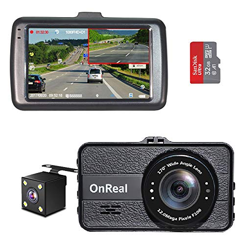 """OnReal Dual Dash Cam 3"""" Full HD 1080p Front and Rear Dash Cams Wide Angle Camera with G-Sensor WDR Loop Recording Parking Monitor Motion Detection 32GB SD Card Included"""