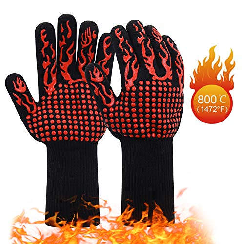 JSDing Guanti da Barbecue in Silicone Resistente al Calore | Guanti da Forno Cucina 800 ° C/1472°F...