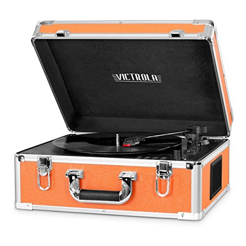 Victrola 3-Speed Bluetooth Suitcase Turntable with CD Player and Speakers, Orange