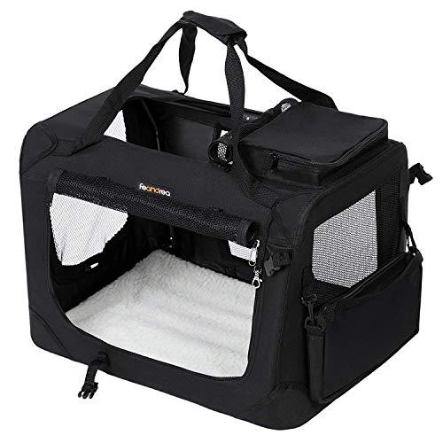 FEANDREA Bolsa de Transporte para Mascotas Transportín Plegable para Perro Portador Tela Oxford Negro XXL 91 x 63 x 63 cm PDC90H