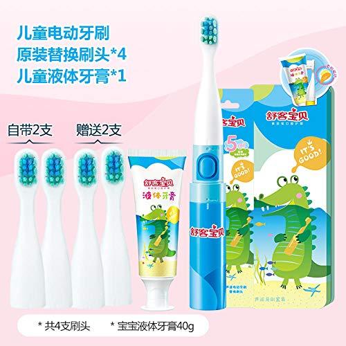 Spazzolino da denti elettrico per bambini in morbida pelliccia con vibrazione sonora 3-6-12 anni impermeabile automatico modello bambino-coccodrillo (incluse 4 testine +)
