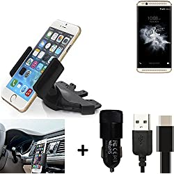 K-S-Trade® Top Set para ZTE Axon 7 Mini Soporte Ranura de CD Smartphone Coche para los Dispositivos de navegación/teléfonos Inteligentes Montaje de la Radio Hecho Smartphone teléfono móvil