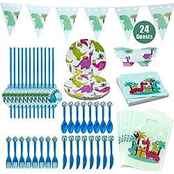 Hangnuo Dinosaurio Party Suministros para los niños cumpleaños-Servir 24 Invitados con Dino Platos, cucharas, Tenedores, Cuchillos, Paja, Bolsas de botín, servilletas, máscaras, Banner