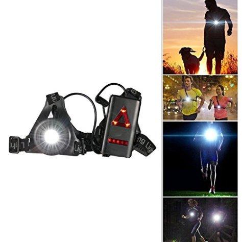 Wiederaufladbare USB Running Light,SGODDE Brust Lampe 3 Modi 180 LM wasserdicht Outdoor Sport,Leicht , Bequem und Perfekt Brustlampe für Joggen, Gehen, Campen, Lesen, Laufen,Angeln, Klettern