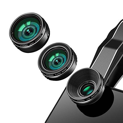 TYCKA Kit Obiettivo Fotocamera Telefono Cellulare, Obiettivo fisheye 230 ° + Obiettivo grandangolare 0.65X + Obiettivo Macro 15X, Kit Obiettivo per Telefono 3 in 1 con Custodia per Obiettivo, per