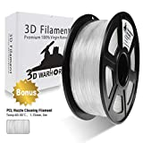PLA Filament Transparent, 3D Hero PLA Filament 1.75mm,PLA 3D Printer Filament,Dimensional Accuracy +/- 0.02 mm, 2.2 LBS(1KG),1.75mm Filament, Bonus with 5M PCL Nozzle Cleaning Filament