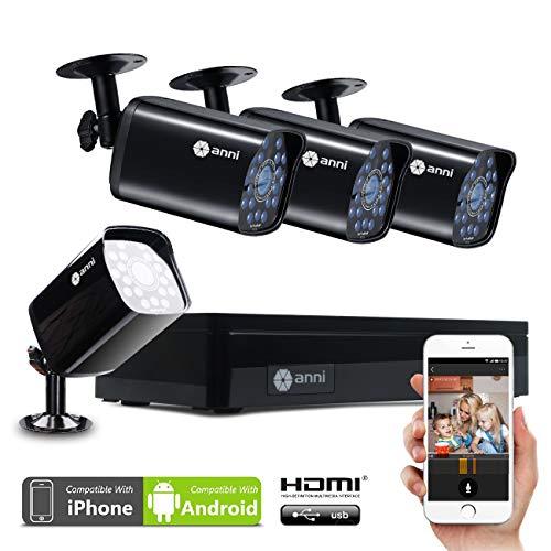 Anni CCTV Kit 1.0MP Videosorveglianza di sistema 4CH 1080N AHD DVR (4) 720p 1500TVL intemperie Outdoor Telecamere con IR visione notturna,Motion Detection,smartphone,PC facile accesso remoto,senza HDD