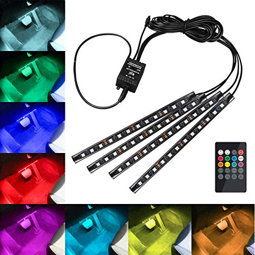 Favoto Luci LED Interne per Auto con 4 Barre 48 Lampadine Colorate per Illuminazione e Decorazione...