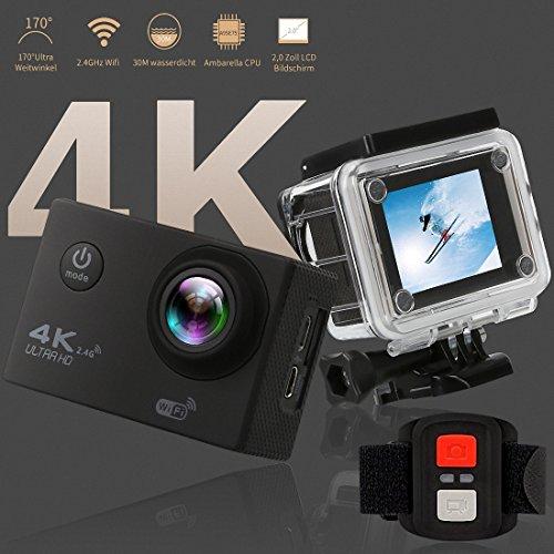 Action Kamera 4K Ultra HD Sport Camera Wifi 30m Wasserdichte Unterwasserkamera mit 170 ° Weitwinkel 16MP Outdoor Video Recorder 2 'LCD und Zubehör Kits für Tauchen Skifahren Surfen.