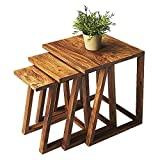 BM Wood Furniture Sheesham Wood Nesting Tables Set Of 3 Stools