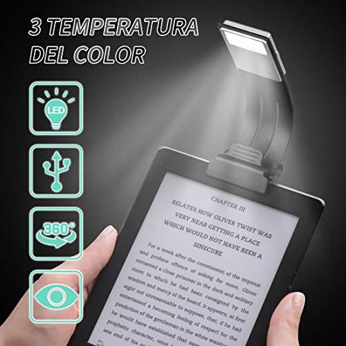Gocheer Led mini lampada da lettura clip libro USB Ricaricabile portatile,Luce da lettura a tre...