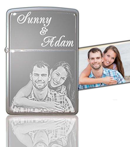 Gravina Accendino originale Zippo® cromato lucido, con foto e incisione personalizzabili, pezzo unico