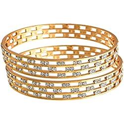 Rubela Today Deal of Day Elegant Precious AAA American Diamond Bangles - Pack of 2 (2.8 inches (L))