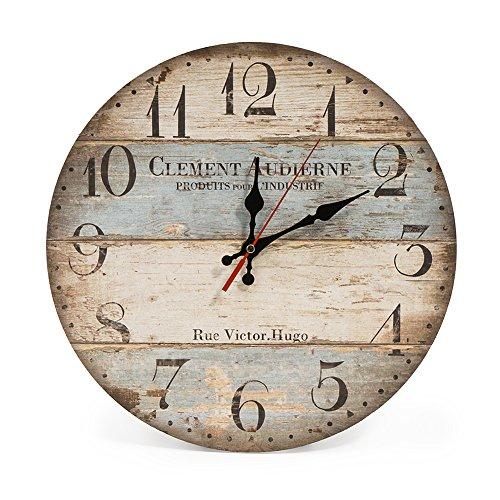 LOHAS Home 30cm Orologio da Parete, 12in Vintage Colorful Francia Parigi Stile Francese del Paese Toscano di Numeri Arabi Design Silenzioso Orologio da Parete in Legno Home Decor (Victor Hugo)