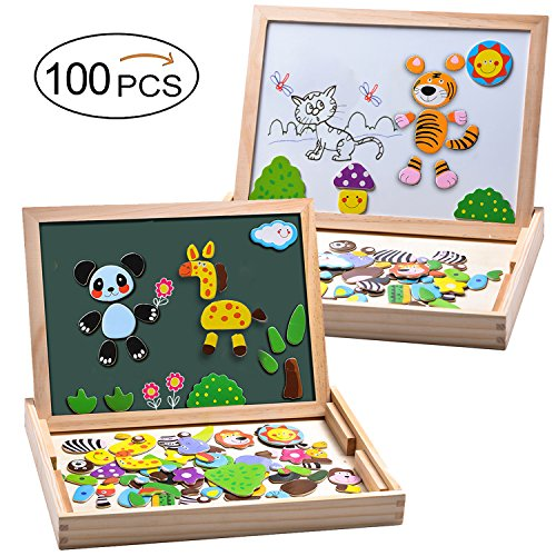 MOVEONSTEP Puzzle Magnetico Giocattolo in Legno 100 PCS Giochi Creativi Doppio Lato Magnetico...