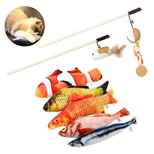 WEKON 5pcs Simulazione Peluche di Pesce 20CM, Pulizia dei Denti del Gatto, Giocattoli per Gatto, 2pcs Giocattoli Interattivi con Piume per Gatti