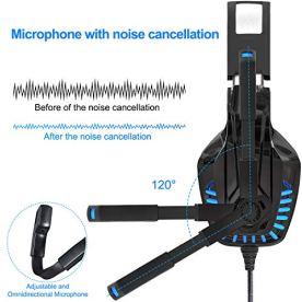 Cascos-PS4-PC-Xbox-OneAuriculares-Gaming-Stereo-con-Micrfono-para-Mac-Cascos-Gaming-con-Bass-Surround-Cancelacion-Ruido-y-35mm-JackDiadema-Acolchada-y-Ajustable-Tiene-un-Adaptador-2-en-1