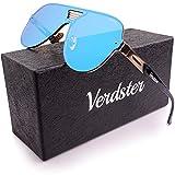 Lunettes de Soleil Aviateur pour Homme VERDSTER TourDePro - Protection UV - Étui, Poche et Chiffon Inclus (Adultes/Grandes, Bleu/Doré)