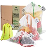 Ace Nifty Reusable Mesh Produce Bags from Recycled Bottles | Washable Zero Waste Fruit Vegetable Grocery Shopping Bag or Toy Storage | Reuseable Ecological and Portable Veg Bag - 6 Eco Bags, 2x S/M/XL