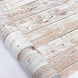 Hode Papier Adhesif pour Meuble d'étagère Liner Collant Retour Papier Peint en Plastique pour Rouleau Adhesif Effet Bois 45X300cm