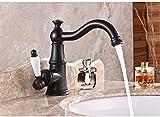 Vintage Negro al lavabo grifo, cobre, cálido y frío grifo, de color bronce baño grifo, Negro Lacca Cinturón prácticas