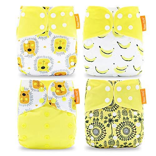 Pocket - Set di 4 pannolini e 4 inserti in microfibra, taglia unica, 5-15 kg, motivo: leone, colore: blu