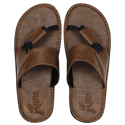 Kraasa Men's Camel Synthetic Outdoor Sandal - 8