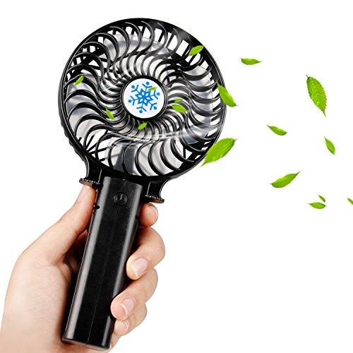 UBEGOOD Ventilador USB, Ventilador de Mano Plegable, Ventilador de USB Fan con Batería Recargable Mini Hand Fan Ruido Bajo Para Ejercicio al aire libre Viaje - Negro