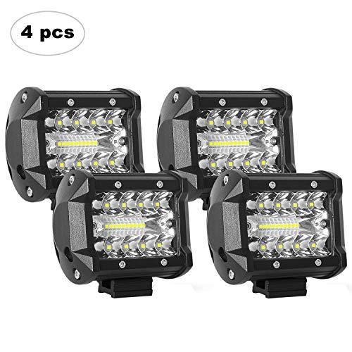 AAIWA LED Light Bar, LED Luci da Lavoro 4PCS 4 Pollici 60W LED Pods Fendinebbia per Fuoristrada,...