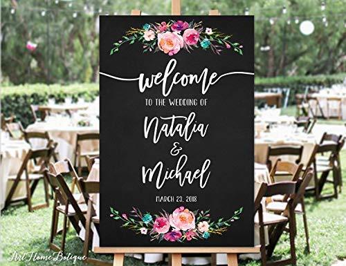 Bair89Pulla - Lavagna con Scritta Welcome to Our Wedding, Stampa con Fiori Rosa