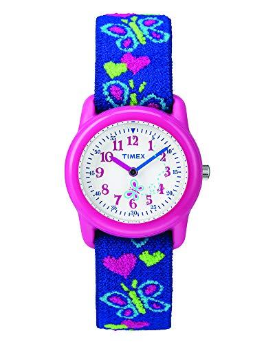 Timex T89001 Orologio Analogico da Polso da Ragazza, Tessuto, Farfalle, Rosa
