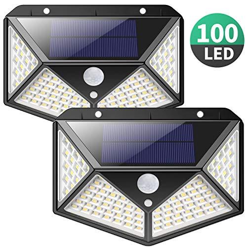 Luce Solare LED Esterno,【270°Angolo Illuminazione-2 Pezzi】100LED Lampada Solare con Sensore di...