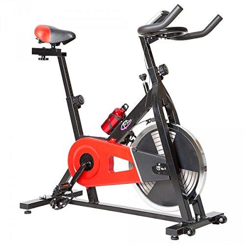 TecTake 401714-Vélo (Noir, Rouge, Vertical/Horizontal, Calories, Moniteur, Vitesse, Temps)