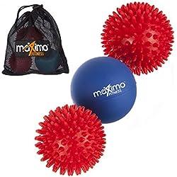 Maximo Fitness Bolas de Masaje–Pack de 3–Incluye 2x Bolas de Erizo de Masaje y 1x Bola de Lacrosse para un Profundo Masaje Masaje–Ideal para la Espalda, piernas, pies y Manos