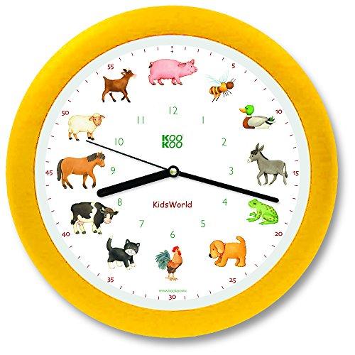 KOOKOO KidsWorld Giallo, Orologio da Parete Genuino, Suoni Naturali, 12 Animali della Fattoria, Illustrazioni Monika Neubacher-Fesser, sensore di Luce