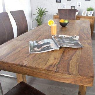 Tavolo da pranzo BONJANNA, vero legno Sheesham massiccio, 120 cm allungabile fino a 200 cm