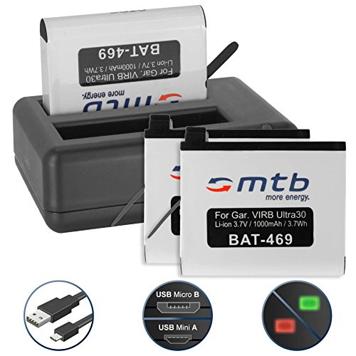 3 Batterie + Caricabatteria doppio (USB) per Garmin Virb Ultra 30 Action Cam [1000 mAh - 3.7V - Li-Ion] - Cavo USB micro incluso