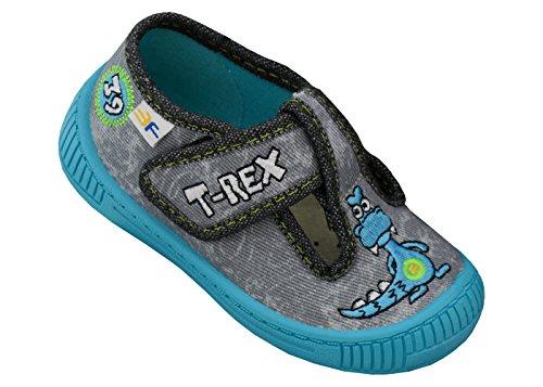 3f freedom for feet Scarpe per Bambini Ragazzi Bambino Sandali Sportivi - Stili Diversi - Ragazzo Neonati Culle Prescolare 1-3 Anni Fissato con Velcro con Solette in Pelle (24, Grigio 2SK3/6)