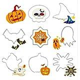 8 Moldes de corte de acero inoxidable, para hacer galletas con temática de Halloween (calabaza, sombrero de bruja, calavera, fantasma, araña, telaraña, murciélago), de Zedtom